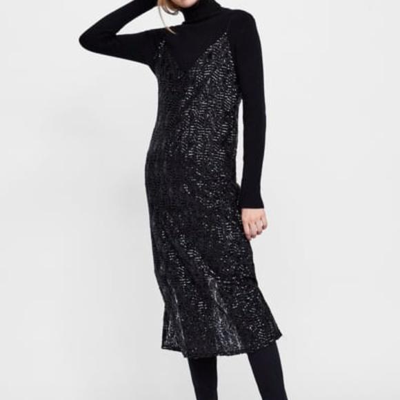 39714166 Zara Dresses | Long Sequin Slip Dress | Poshmark